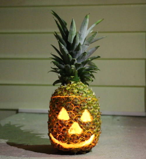 Jack-O-Lantern made from a pineapple